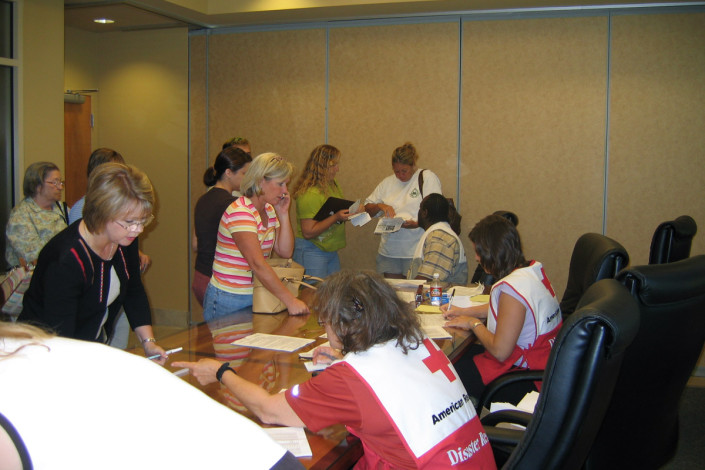 people in line at American Red Cross at DFC Following Katrina | DonahueFavret General Contractors Louisiana and Gulf South