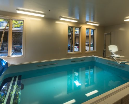 Rehab Center interior pool in Touro Infirmary, New Orleans, LA | DonahueFavret General Contractors Louisiana and Gulf South