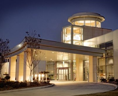 Hammond Hospital Center entrance at night | DonahueFavret General Contractor | Louisiana and Gulf South