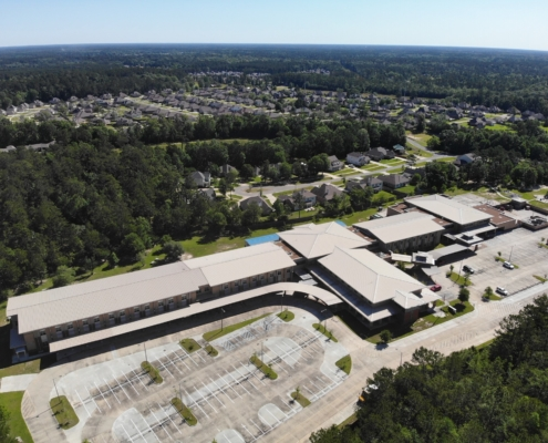 DonahueFavret General Contractor, Louisiana and Gulf South | Lancaster Elementary, Madisonville, LA aerial view