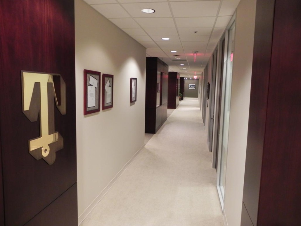 office hallway. Tidewater Corporate Office Hallway | DonahueFavret Contractors, Inc. Louisiana Commercial General Contractors H