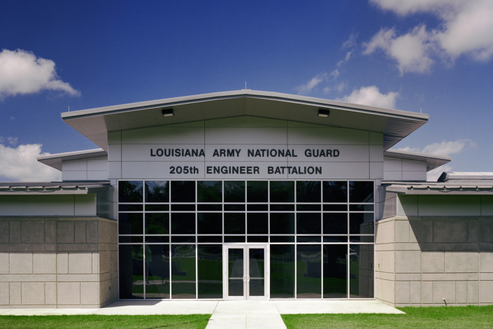 facade of Louisiana Army National Guard Bogalusa Readiness Center | DonahueFavret General Contractors | Louisiana and Gulf South