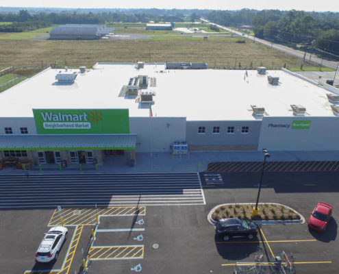 aerial view of Neighborhood Walmart | DonahueFavret General Contractors Louisiana and Gulf South