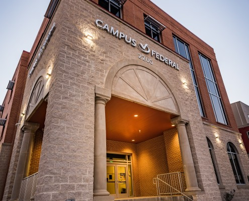 facade of Campus Federal Credit Union, New Orleans, LA | DonahueFavret General Contractors Louisiana and Gulf South
