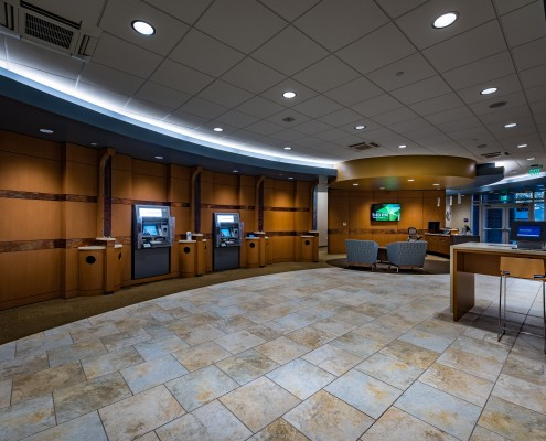 lobby of Campus Federal Credit Union, New Orleans, LA | DonahueFavret General Contractors Louisiana and Gulf South