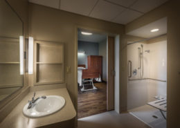 resident bathroom in Chateau de Notre Dame Acute Rehab Facility, New Orleans, LA | DonahueFavret General Contractors Louisiana and Gulf South