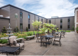 courtyard of Chateau de Notre Dame Acute Rehab Facility, New Orleans | DonahueFavret General Contractors Louisiana and Gulf South
