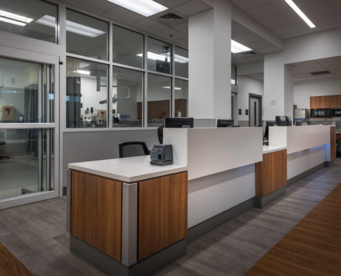nurses station in Lakeview Regional Medical Center ER Department Expansion | DonahueFavret General Contractors Louisiana and Gulf South