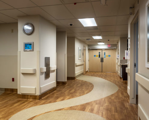 decorative floor in Tulane Bone Marrow Transplant Unit | DonahueFavret General General Contractors Louisiana and Gulf South