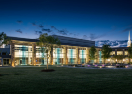 First Baptist Church Covington Dusk Exterior | DonahueFavret Contractors, Inc.