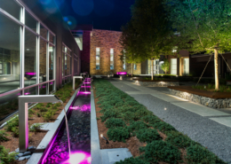 First Baptist Church Covington Courtyard at nightime | DonahueFavret General Contractors Louisiana and Gulf South