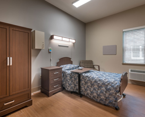 Resident Room at Greenbriar Community Care Center | DonahueFavret General Contractors | Louisiana and Gulf South