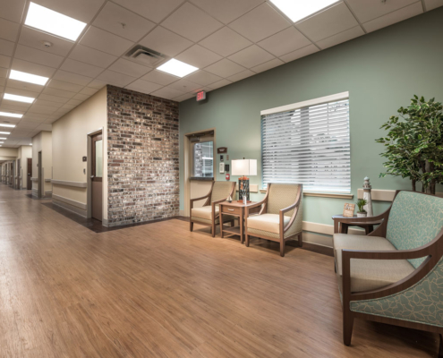Resident Corridor at Greenbriar Community Care Center | DonahueFavret General Contractors | Louisiana and Gulf South