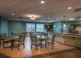 Bistro Seating/Warming Kitchen Camelot Community Care | DonahueFavret Contractors | Louisiana and Gulf South