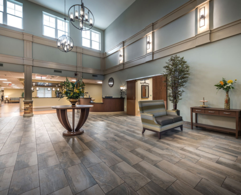 Lobby facing in at Greenbriar Community Care Center | DonahueFavret General Contractors | Louisiana and Gulf South