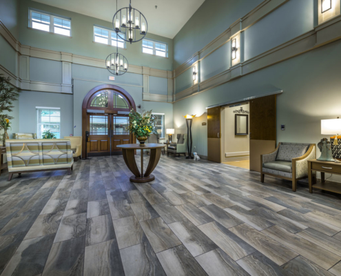 Lobby facing out at Greenbriar Community Care Center | DonahueFavret General Contractors | Louisiana and Gulf South