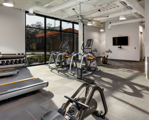 Globalstar Headquarters fitness room | DonahueFavret General Contractor, Louisiana and Gulf South