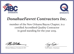 DonahueFavret General Contractors, Louisiana and Gulf South | Accredited Quality Contractor award