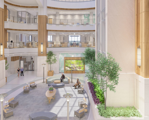 atrium in TRMC Cancer Institute | DonahueFavret General Contractor, Louisiana and Gulf South