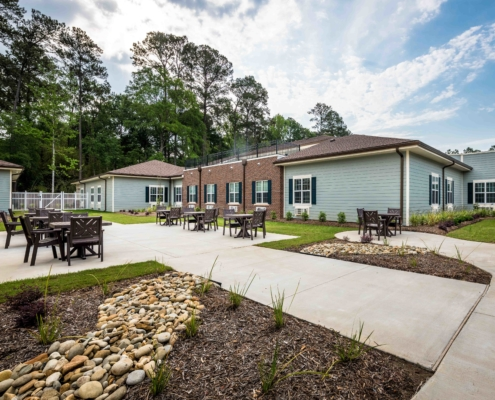 Back Patio at at Trinity Trace Community Care Center, Covington LA | DonahueFavret General Contractor, Louisiana and Gulf South
