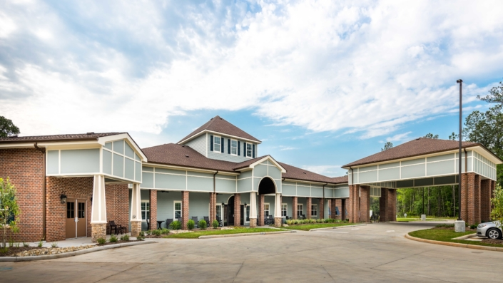 Exterior of front entry at Trinity Trace Community Care Center, Covington LA | DonahueFavret General Contractor, Louisiana and Gulf South