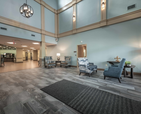 Lobby seating area at at Trinity Trace Community Care Center, Covington LA | DonahueFavret General Contractor, Louisiana and Gulf South