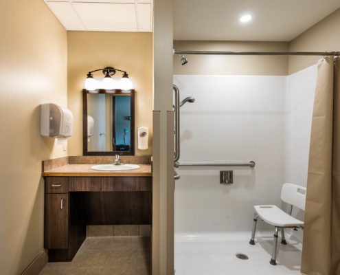 resident bathroom at at Trinity Trace Community Care Center, Covington LA | DonahueFavret General Contractor, Louisiana and Gulf South
