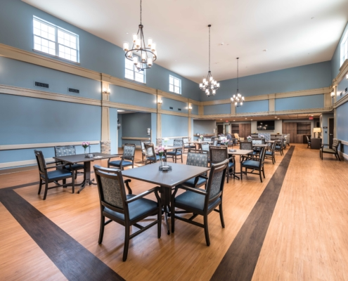 dining room at Trinity Trace Community Care Center, Covington LA | DonahueFavret General Contractor, Louisiana and Gulf South