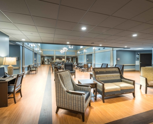 Wing Lounge area at at Trinity Trace Community Care Center, Covington LA | DonahueFavret General Contractor, Louisiana and Gulf South