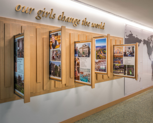 Change the World display at Sacred Heart School Mater Campus NIMS Center | DonahueFavret General Contractor, Louisiana and Gulf South