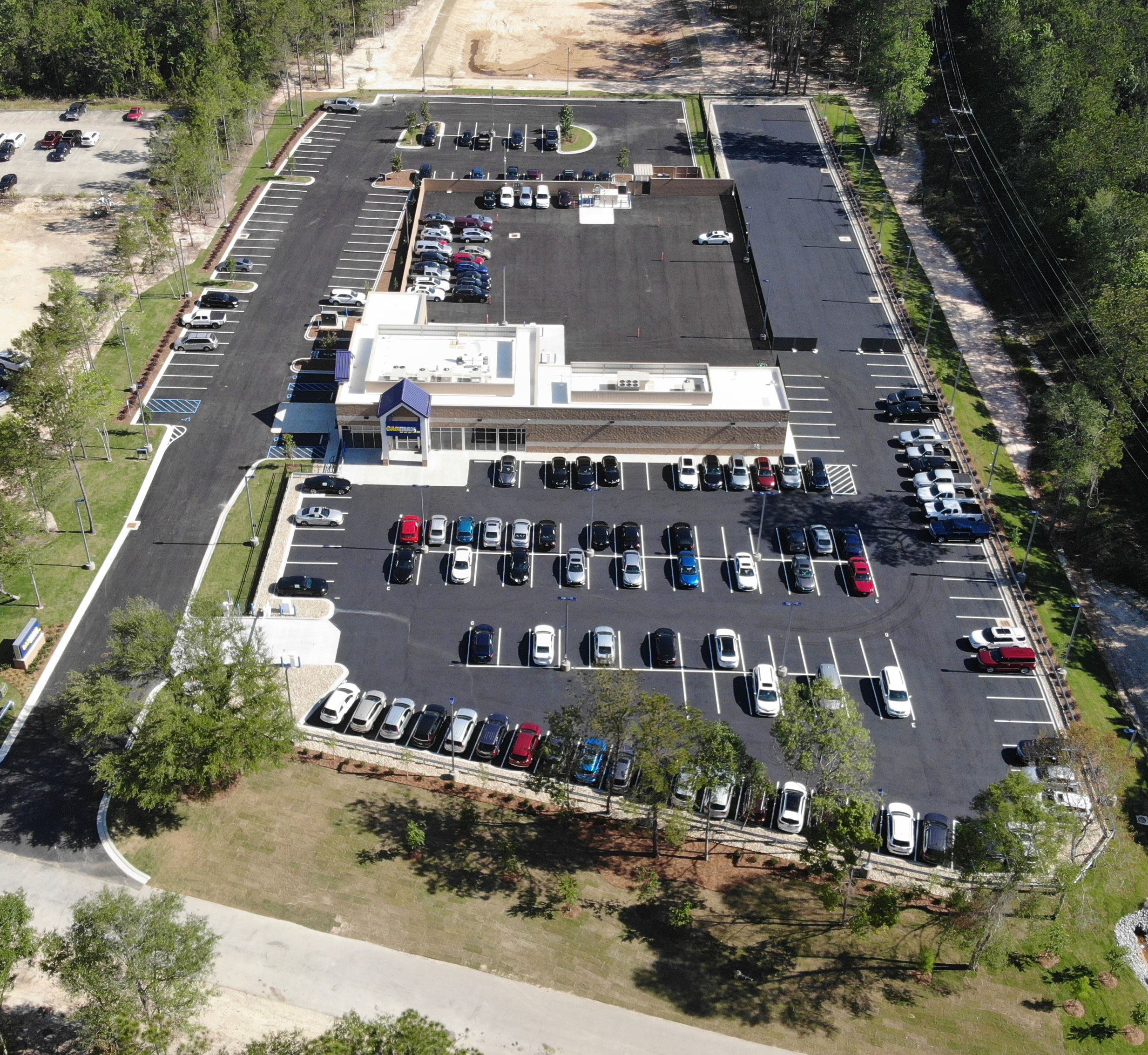 CarMax Covington, LA aerial view | DonahueFavret General Contractor, Louisiana and Gulf South