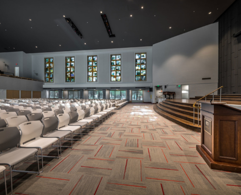 Interior side view at Sacred Heart School Mater Campus NIMS Center | DonahueFavret General Contractor, Louisiana and Gulf South