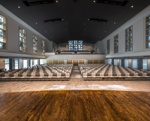 Stage View at Sacred Heart School Mater Campus NIMS Center | DonahueFavret General Contractor, Louisiana and Gulf South