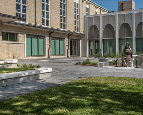 Entrance courtyard at Sacred Heart School Mater Campus NIMS Center | DonahueFavret General Contractor, Louisiana and Gulf South