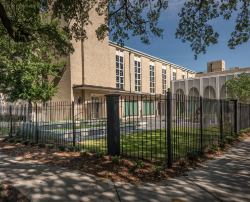 New Entrance courtyard at Sacred Heart School Mater Campus NIMS Center | DonahueFavret General Contractor, Louisiana and Gulf South