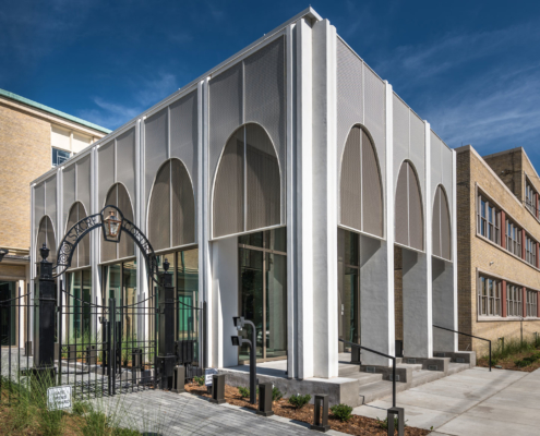 New Entrance exterior at Sacred Heart School Mater Campus NIMS Center | DonahueFavret General Contractor, Louisiana and Gulf South