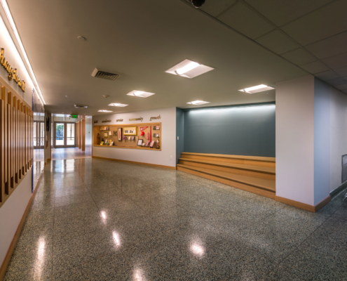New Entrance hallway at Sacred Heart School Mater Campus NIMS Center | DonahueFavret General Contractor, Louisiana and Gulf South
