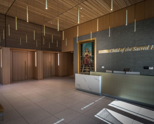 Lobby at Sacred Heart School Mater Campus NIMS Center | DonahueFavret General Contractor, Louisiana and Gulf South