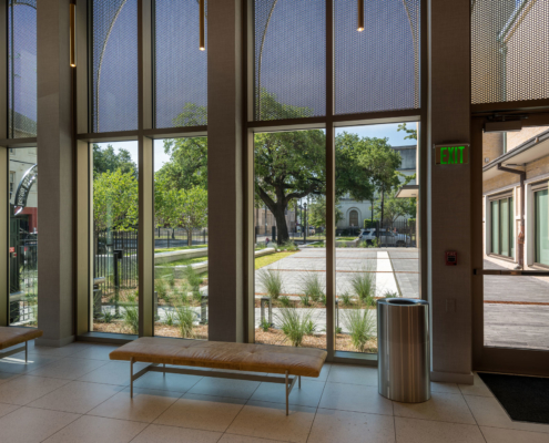 Lobby looking out at Sacred Heart School Mater Campus NIMS Center | DonahueFavret General Contractor, Louisiana and Gulf South