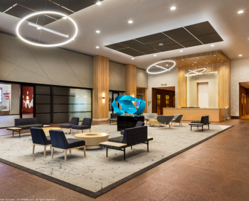 Lobby at PanAm Life Building 11th floor renovation | DonahueFavret General Contractors | Louisiana and Gulf South