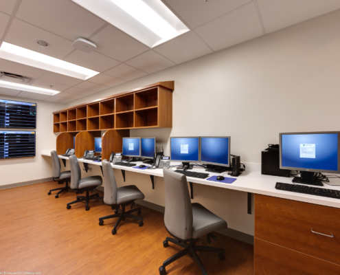 computer stations in the TRMC Dictation room | DonahueFavret General Contractors | Louisiana and Gulf South
