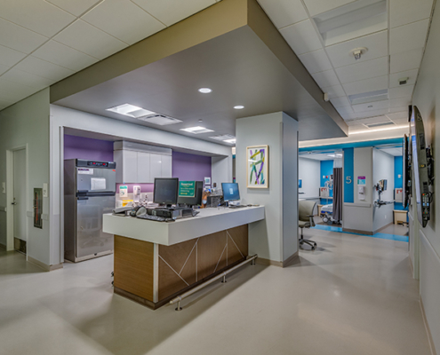 nurses' station at UMC Outpatient Surgery Center | DonahueFavret General Contractors | Louisiana and Gulf South
