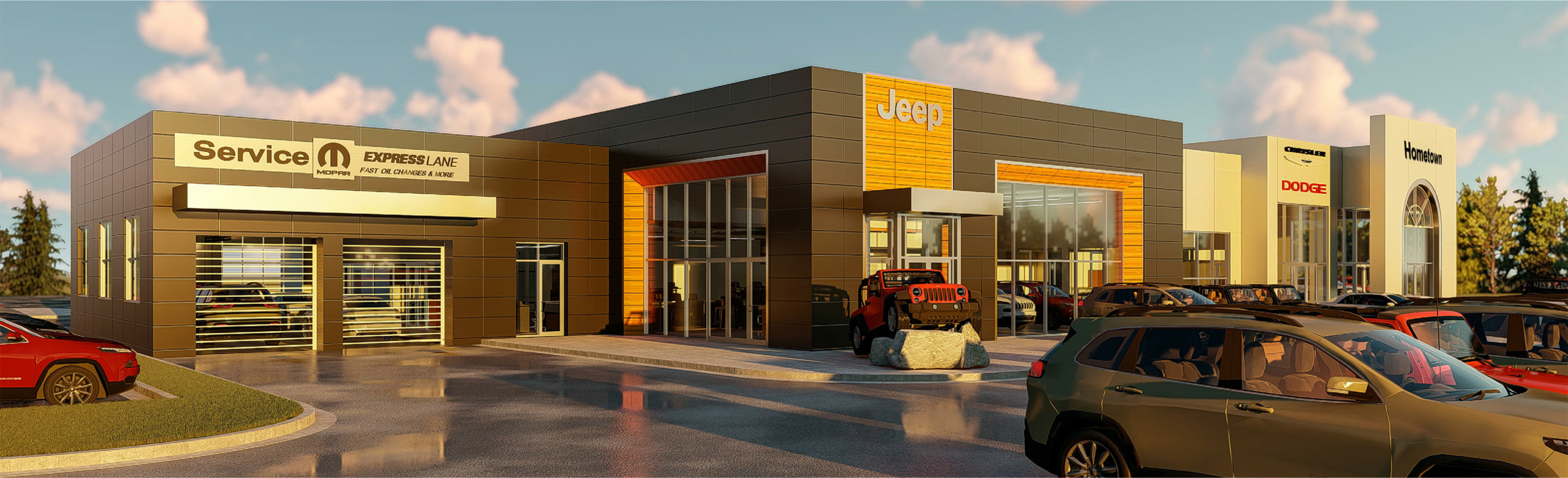 rendering of exterior of Lakeshore Kenner DCR+J Dealership | DonahueFavret General Contractors | Louisiana and Gulf South