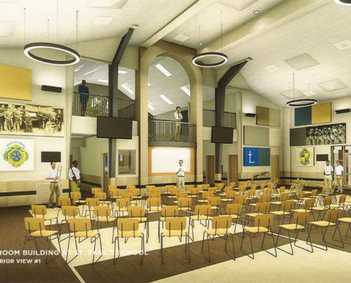 rendering of interior of St. Paul's Music Classroom Building | DonahueFavret General Contractors | Louisiana and Gulf South