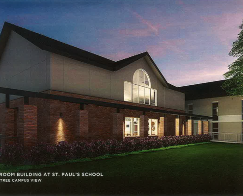 rendering of exterior of St. Paul's Music Classroom Building | DonahueFavret General Contractors | Louisiana and Gulf South
