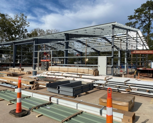 Mele Printing large format printing building framing of interior | DonahueFavret General Contractor | Louisiana and Gulf South