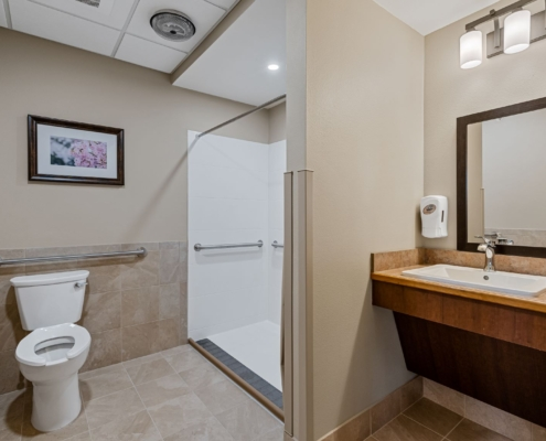 Old Brownlee Community Care Center resident bathroom | DonahueFavret General Contractor | Louisiana and Gulf South