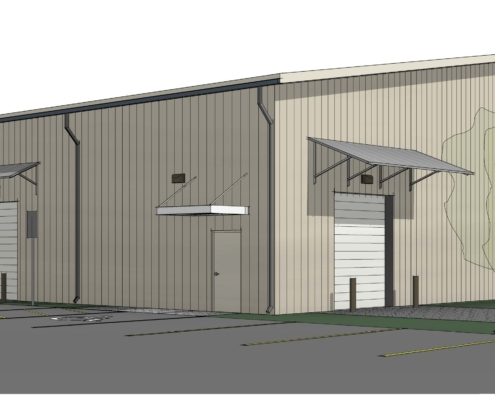sketch of Mele Printing large format printing building exterior | DonahueFavret General Contractor | Louisiana and Gulf South