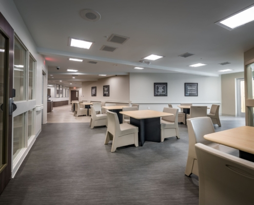 social/dining area Oceans Behavioral Hospital renovation | DonahueFavret General Contractor | Louisiana and Gulf South