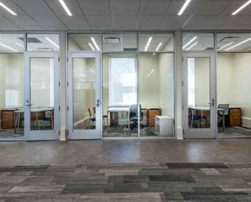 glass walled offices in Tulane Richardson Hall renovation | DonahueFavret General Contractor | Louisiana and Gulf South